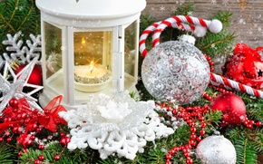 Picture balls, decoration, snowflakes, lantern, tinsel, composition, decoration, spruce branches