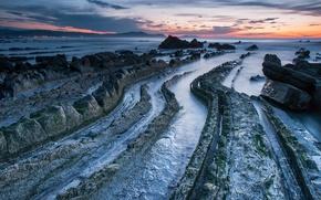 Picture sea, sunset, nature, stones, rocks, shore, the evening