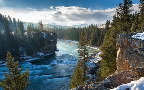 Picture winter, trees, mountains, rocks, Canada, Albert, Alberta, Canada, the bow river, Bow River