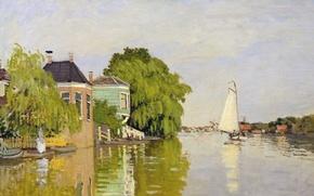Wallpaper landscape, boat, picture, sail, Claude Monet, Houses on the Achterzaan