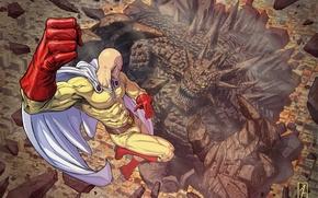 Picture monster, hero, battle, anime, art, Saitama, One Punch Man