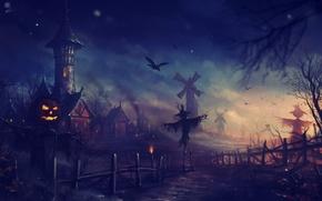 Wallpaper Halloween, Halloween, night, art, Scarecrow, mill