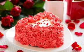 Picture flowers, holiday, cake, cream, food, cake, holiday, dessert, heart, dessert, sweet, cream, Cup, cups, love, ...