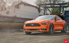 Picture mustang, wheels, ford, 5.0, orange, vossen