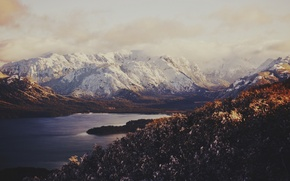 Wallpaper lake, snow, mountains, the sky, valley, clouds