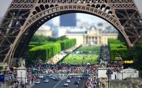 Wallpaper Europe, France, street, Eiffel tower, Paris, people, pedestrians