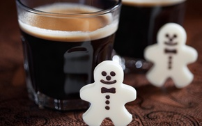 Picture winter, glass, coffee, men, cookies, drink, figures, holidays