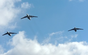 Picture the sky, clouds, Russia, May 9, BBC, aircraft, The Il-76, group aerobatics, rehearsal of the …