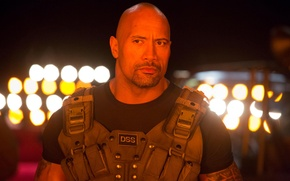 Picture night, lights, action, Dwayne Johnson, vest, Dwayne Johnson, Fast and furious 6, Furious 6, Hobbs