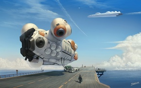 Picture road, sea, machine, future, transport, wire, people, ship, art