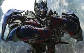 Picture metal, rocks, sword, iron, Optimus Prime, Optimus Prime, Michael Bay, Michael Bay, Transformers: Age Of …