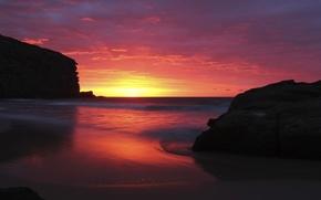 Picture sea, beach, rocks, dawn, morning