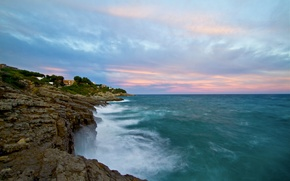 Picture sea, wave, the sky, rocks, shore, blue - pink clouds