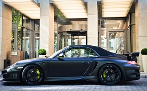 Wallpaper 911, 997, Porsche, black, matt, techart, building, cabriolet