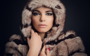 Picture look, girl, face, coat, fur, beauty, Paloma