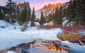 Picture winter, forest, mountains, nature, river