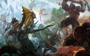 Picture art, Slayer, battle, Crystal Maiden, Bloodseeker, Dota 2, Leviathan, Lina, Axe, Slark, Tidehunter, Naga Siren, …