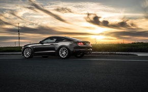 Picture 2015, Car, Muscle, Before, Garde, Sunset, Rear, Wheels, Mustang, Ford