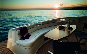 Picture sea, sunset, mood, stay, the evening, yacht, glasses, journey, table