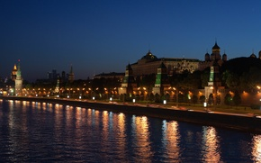 Picture lights, night, promenade, river, the Kremlin, lamps, the city