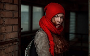 Picture Angry girl, George Chernyadev, scarf, hat, girl