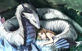 Picture white, love, dragon, protection, girl, beautiful, Dragon love