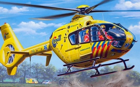 Picture figure, art, Eurocopter, Airbus, EC135, Helicopters, multipurpose light helicopter, transport helicopter, Sanitary aviation