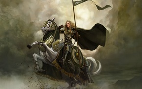 Picture girl, clouds, horse, rider, the Lord of the rings, art, spear, armor, shield, lord of …