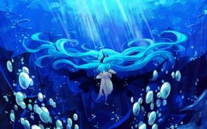 Picture girl, light, bubbles, the ocean, hair, ship, art, vocaloid, hatsune miku, under water, Vocaloid, lyrah777
