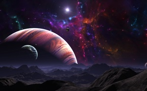 Picture stars, surface, mountains, landscape, planet, gas giant