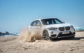 Picture sand, sea, shore, BMW, BMW, xDrive, SUV, 2015, F48, xLine