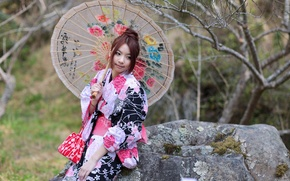 Picture girl, style, umbrella, outfit, girl, Asian, style, umbrella, Asian girl, outfit