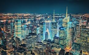 Wallpaper night, lights, New York, the evening, New York