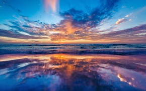 Picture beach, reflection, the ocean, dawn, coast