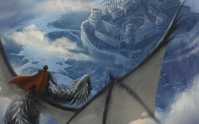 Picture flight, castle, dragon, art, rider, in the sky