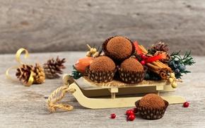 Picture chocolate, New year, cinnamon, bump, Christmas, cakes, cakes, Cake, Sweets, kaksi