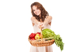 Wallpaper parsley, pepper, red, vegetables, smile, brown hair, cabbage, hairstyle, white background, fruit, girl, mood, basket, ...