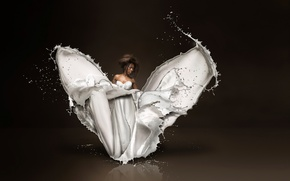 Picture girl, squirt, milk, Dress of milk