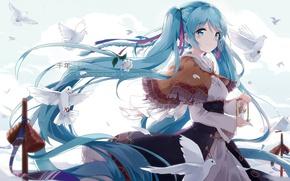 Picture anime, art, pigeons, girl, vocaloid, hatsune miku