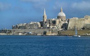 Picture sea, the sky, home, the dome, Malta, Valletta