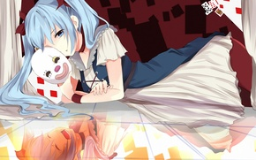 Picture card, girl, reflection, emotions, mask, art, vocaloid, hatsune miku, Vocaloid, lying, ddrgs_237
