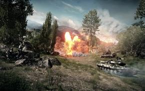 Picture the explosion, battle, tanks, Battlefield