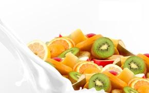 Picture milk, fruit, slices