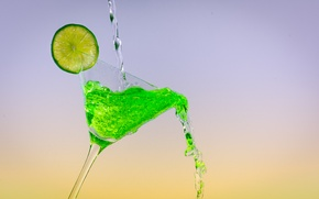 Picture Green, Lime, Cocktail, Colour Art, Glas