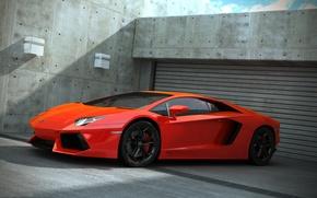 Picture garage, lamborghini, orange, aventador