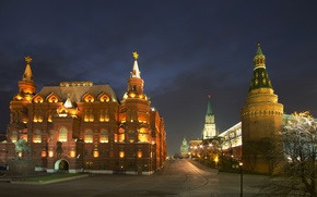 Picture night, city, lights, Moscow, The Kremlin, Russia, Russia, Moscow, Kremlin