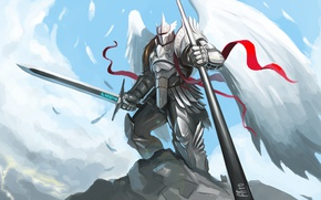 Picture Armor, Angel, Wings, Sword, Fiction