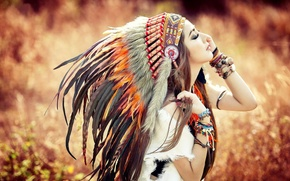 Picture Girl, Autumn, Feathers, Face, Bracelet, Indian, Headdress