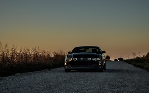 Picture mustang, Mustang, ford, black, Ford black, wind turbines