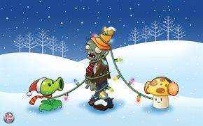 Picture winter, game, garland, planyts vs zombi